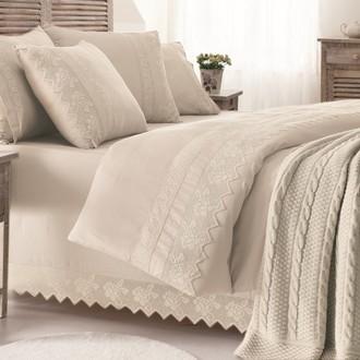 Комплект постельного белья с пледом-покрывалом Gelin Home ERGUVAN хлопковый сатин делюкс (бежевый)