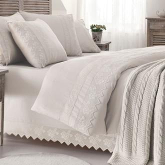 Комплект постельного белья с пледом-покрывалом Gelin Home ERGUVAN хлопковый сатин делюкс (кремовый)
