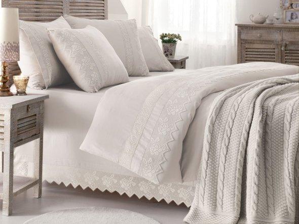 Комплект постельного белья с пледом-покрывалом Gelin Home ERGUVAN хлопковый сатин делюкс (кремовый) евро, фото, фотография