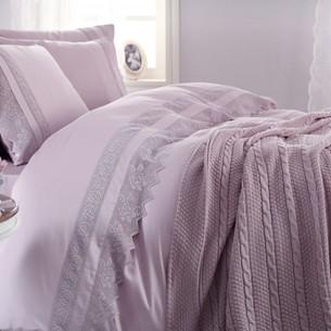 Постельное белье с пледом-покрывалом Gelin Home ERGUVAN хлопковый сатин делюкс лиловый евро