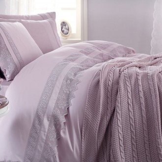 Комплект постельного белья с пледом-покрывалом Gelin Home ERGUVAN хлопковый сатин делюкс (лиловый)