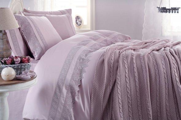 Комплект постельного белья с пледом-покрывалом Gelin Home ERGUVAN хлопковый сатин делюкс (лиловый) евро, фото, фотография