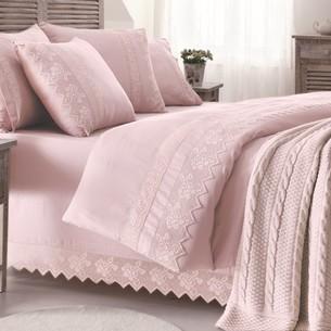 Постельное белье с пледом-покрывалом Gelin Home ERGUVAN хлопковый сатин делюкс тёмно-розовый евро