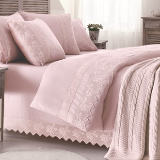 Постельное белье с пледом-покрывалом Gelin Home ERGUVAN хлопковый сатин делюкс (тёмно-розовый)