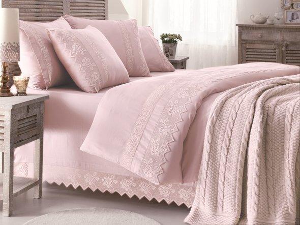 Комплект постельного белья с пледом-покрывалом Gelin Home ERGUVAN хлопковый сатин делюкс (тёмно-розовый) евро, фото, фотография