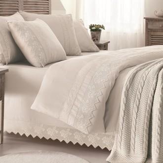 Комплект постельного белья с пледом-покрывалом Gelin Home ERGUVAN хлопковый сатин делюкс (шампань)