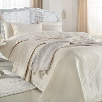 Комплект постельного белья с пледом-покрывалом Gelin Home DERYA хлопковый сатин делюкс (кремовый)