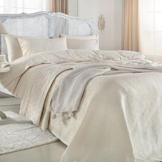 Комплект постельного белья с пледом-покрывалом Gelin Home DERYA хлопковый сатин делюкс (грязно-розовый)