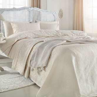 Комплект постельного белья с пледом-покрывалом Gelin Home DERYA хлопковый сатин делюкс (шампань)