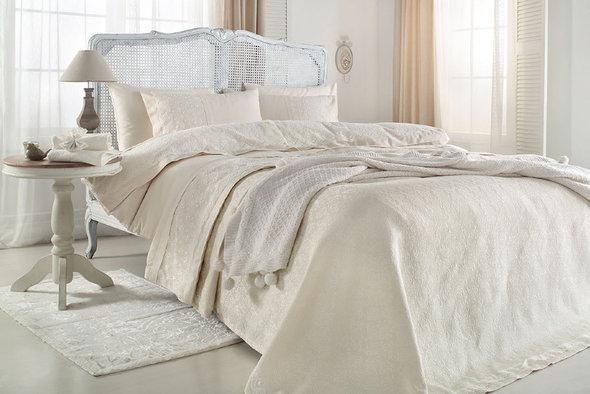 Комплект постельного белья с пледом-покрывалом Gelin Home DERYA хлопковый сатин делюкс (шампань) евро, фото, фотография