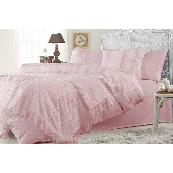 Комплект постельного белья с покрывалом Gelin Home FUNDA хлопковый сатин делюкс (грязно-розовый) евро, фото, фотография
