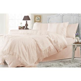 Комплект постельного белья с покрывалом Gelin Home FUNDA хлопковый сатин делюкс (персиковый)