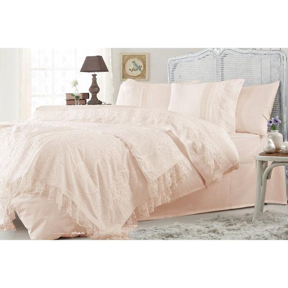 Комплект постельного белья с покрывалом Gelin Home FUNDA хлопковый сатин делюкс (персиковый) евро, фото, фотография