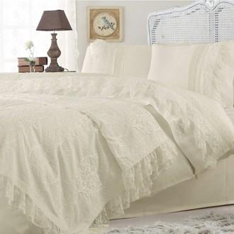 Комплект постельного белья с покрывалом Gelin Home FUNDA хлопковый сатин делюкс (шампань)