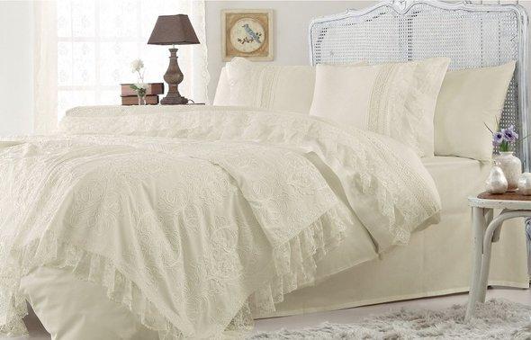 Комплект постельного белья с покрывалом Gelin Home FUNDA хлопковый сатин делюкс (шампань) евро, фото, фотография
