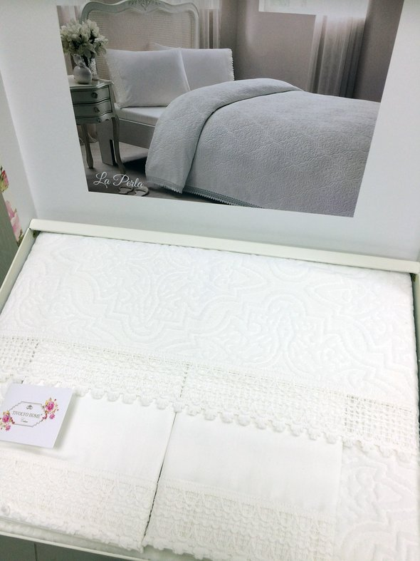 Постельное белье с махровой простынью-покрывалом для укрывания Tivolyo Home LA PERLA кремовый евро, фото, фотография
