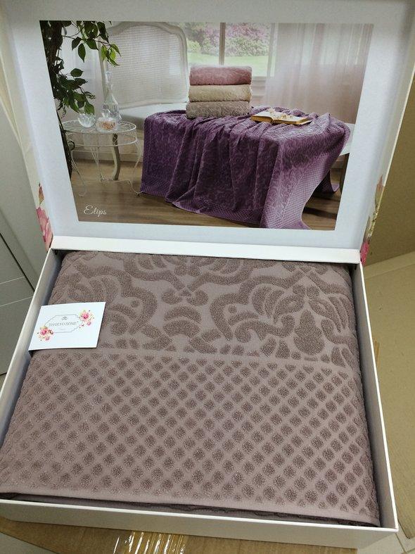 Махровая простынь-покрывало для укрывания Tivolyo Home ELIPS хлопок (коричневый) 220*240, фото, фотография
