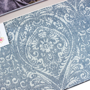 Простынь-покрывало для укрывания Tivolyo Home MARONE хлопковый жаккард синий 220х240