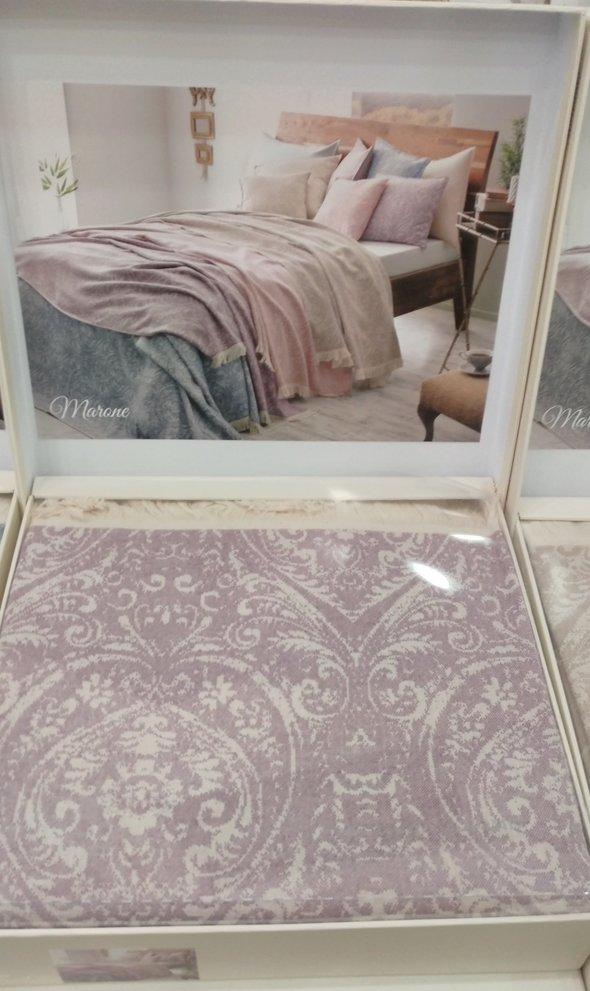 Простынь-покрывало для укрывания Tivolyo Home MARONE хлопковый жаккард (фиолетовый) 220*240, фото, фотография