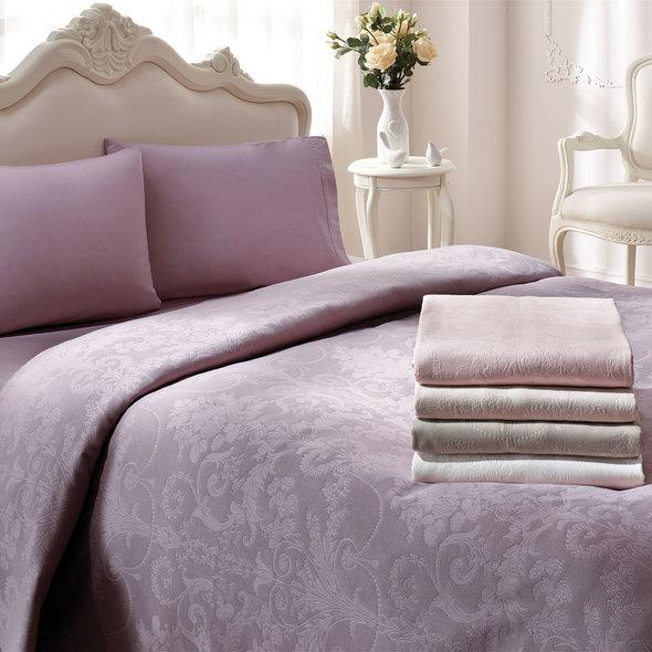 Комплект постельного белья с простынью-покрывалом для укрывания (пике) Tivolyo Home ARREDO (пудра) евро, фото, фотография
