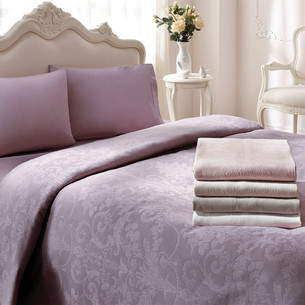 Постельное белье с простынью-покрывалом для укрывания пике Tivolyo Home ARREDO фиолетовый евро