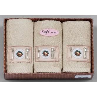 Набор кухонных полотенец в подарочной упаковке 32*50(3) Soft Cotton KITCHEN хлопковая махра (бежевый)