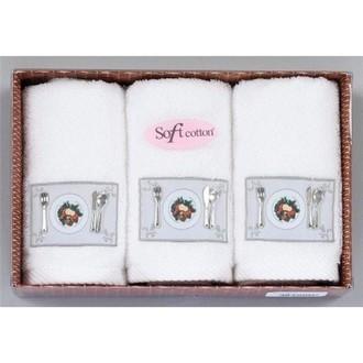 Набор кухонных полотенец в подарочной упаковке 32х50 3 шт. Soft Cotton KITCHEN хлопковая махра белый