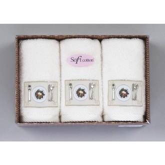 Набор кухонных полотенец в подарочной упаковке 32х50 3 шт. Soft Cotton KITCHEN хлопковая махра кремовый