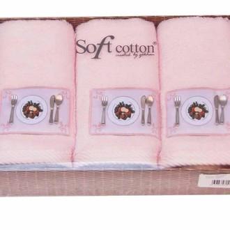 Набор кухонных полотенец в подарочной упаковке 32*50(3) Soft Cotton KITCHEN хлопковая махра (розовый)