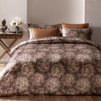 Комплект постельного белья Tivolyo Home GRACE сатин, жатый шёлк (кофейный)