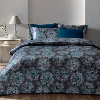 Комплект постельного белья Tivolyo Home GRACE сатин, жатый шёлк (серый)