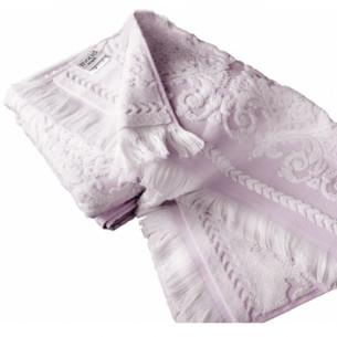 Набор полотенец для ванной 2 пр. Tivolyo Home SANDRA хлопковая махра кремовый+лиловый