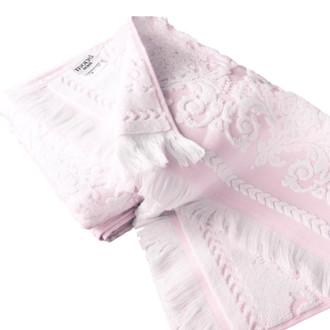 Набор полотенец для ванной 2 пр. Tivolyo Home SANDRA хлопковая махра (кремовый+розовый)