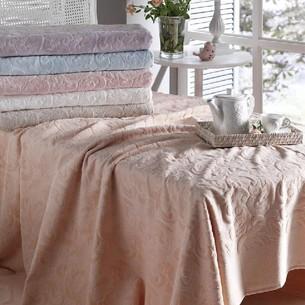 Махровая простынь-покрывало для укрывания Tivolyo Home CAMILLE хлопок персиковый 160х220