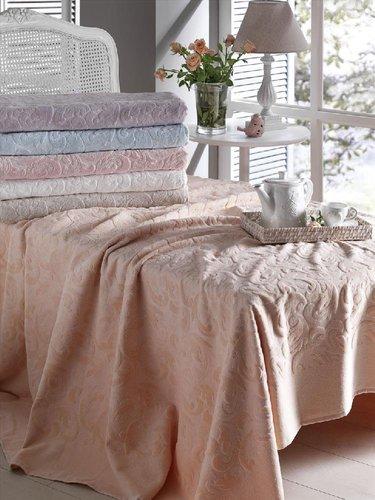Махровая простынь-покрывало для укрывания Tivolyo Home CAMILLE хлопок персиковый 220х240, фото, фотография