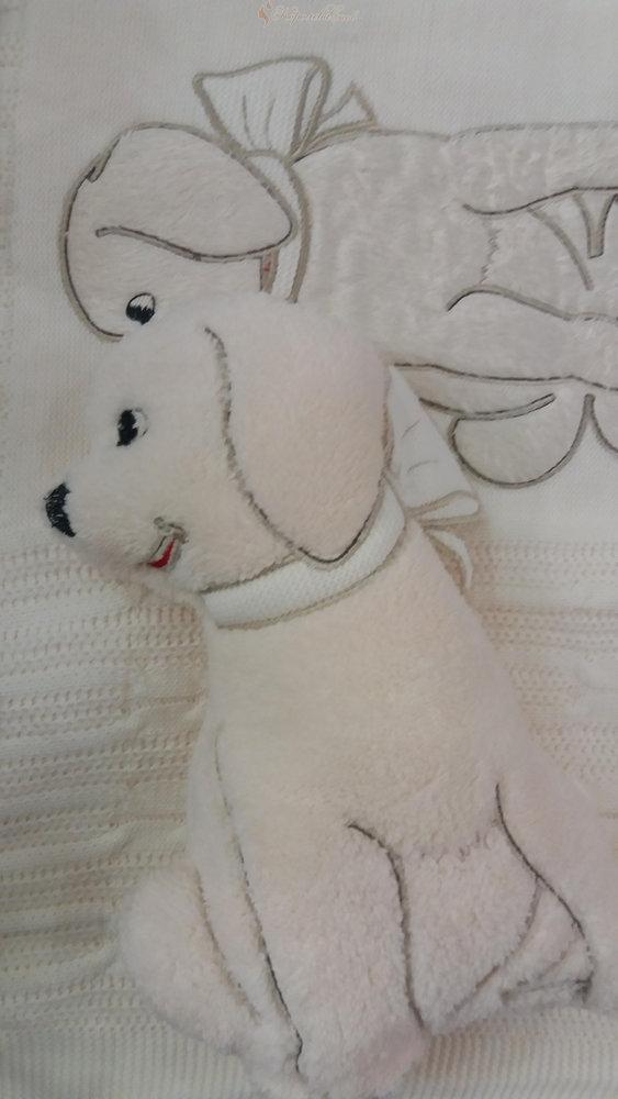 Плед детский для новорожденных с игрушкой Gelin Home СОБАЧКА (бежевый) 85*100, фото, фотография