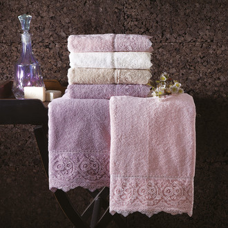 Подарочный набор полотенец для ванной 2 пр. Tivolyo Home ELEGANT хлопковая махра (фиолетовый)
