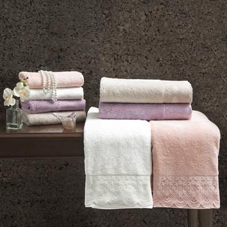 Подарочный набор полотенец для ванной 2 пр. Tivolyo Home OLIVIA хлопковая махра (кремовый)