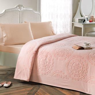 Постельное белье с махровой простынью-покрывалом Tivolyo Home ALFREDO хлопок (персиковый)