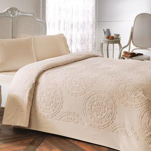 Постельное белье с махровой простынью-покрывалом Tivolyo Home ALFREDO хлопок бежевый евро