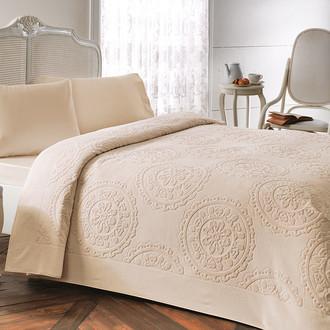 Постельное белье с махровой простынью-покрывалом Tivolyo Home ALFREDO хлопок (бежевый)
