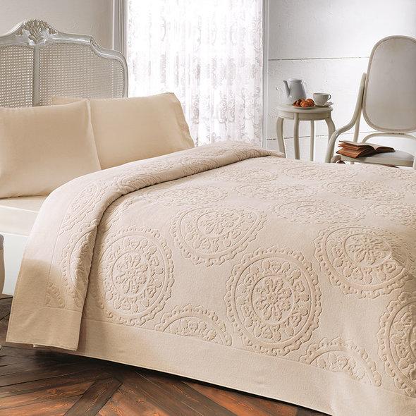 Постельное белье с махровой простынью-покрывалом Tivolyo Home ALFREDO хлопок (бежевый) евро, фото, фотография