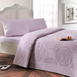 Постельное белье с махровой простынью-покрывалом Tivolyo Home ALFREDO хлопок лиловый евро