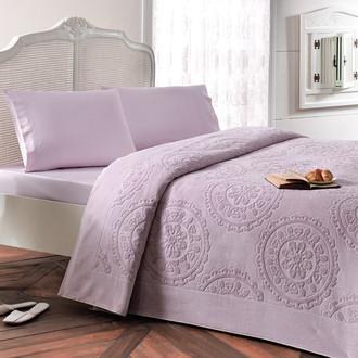 Комплект постельного белья с махровой простынью-покрывалом Tivolyo Home ALFREDO хлопок (лиловый)