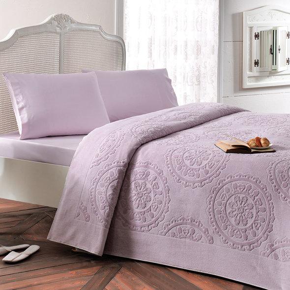 Комплект постельного белья с махровой простынью-покрывалом Tivolyo Home ALFREDO хлопок (лиловый) евро-макси, фото, фотография