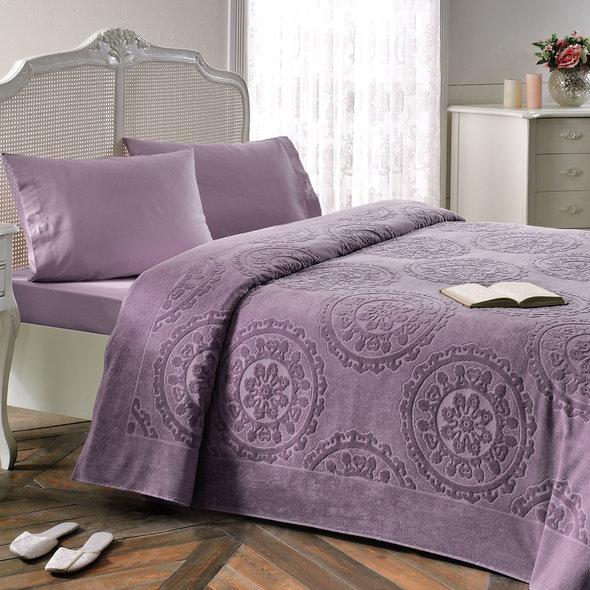 Комплект постельного белья с махровой простынью-покрывалом Tivolyo Home ALFREDO хлопок (фиолетовый) евро-макси, фото, фотография