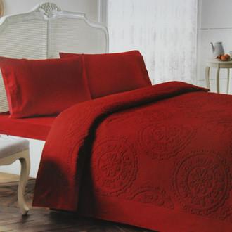 Комплект постельного белья с махровой простынью-покрывалом Tivolyo Home ALFREDO хлопок (бордовый)