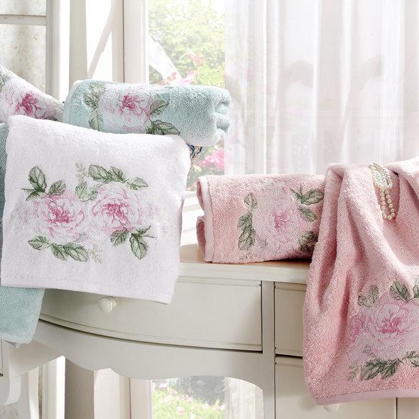 Подарочный набор полотенец для ванной 3 пр. Tivolyo Home ROSE NAKISLI хлопковая махра (кремовый+розовый), фото, фотография