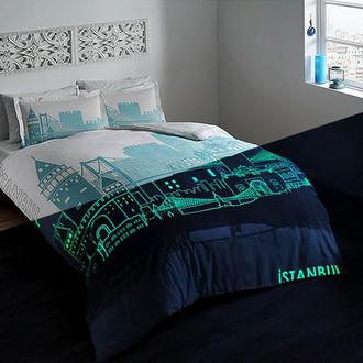 Комплект постельного белья TAC GLOW ISTANBUL хлопковый сатин (бирюзовый)