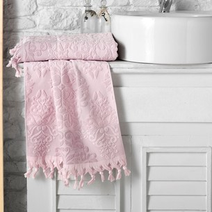 Полотенце для ванной Karna OTTOMAN хлопковая махра розовый 70х140